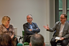 Chris Fremantle speaks with Dr. Emily Brady and Ben Twist during the panel discussion