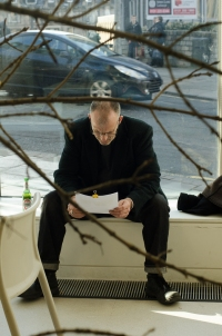 A reader engages with the 'Centre for Endless Growth' Installation at TENT Gallery