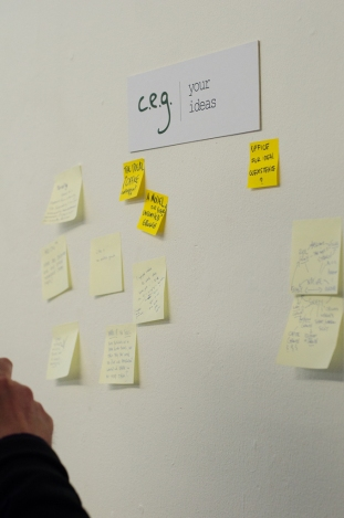 The 'Centre for Endless Growth' visitor ideas wall