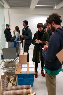 """""""Culture Soup"""" Sam Cook, Emily Parry, Sofia Sefraoui Up-cycled portable food trolley Using local and sustainable foods we are producing soup for the exhibition. The (free) soup will be situated outside the gallery space, although it will serve to bring viewers in to the gallery."""