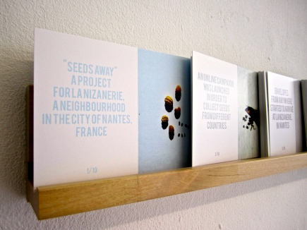 """""""Seeds Away"""" Ollla at Work Postcards, seeds Seeds Away was a participatory project developed in the neighborhood and with the community of La Nizanerie, in the city of Nantes, France."""