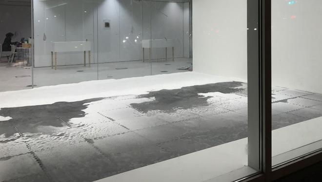 salt on a black floor
